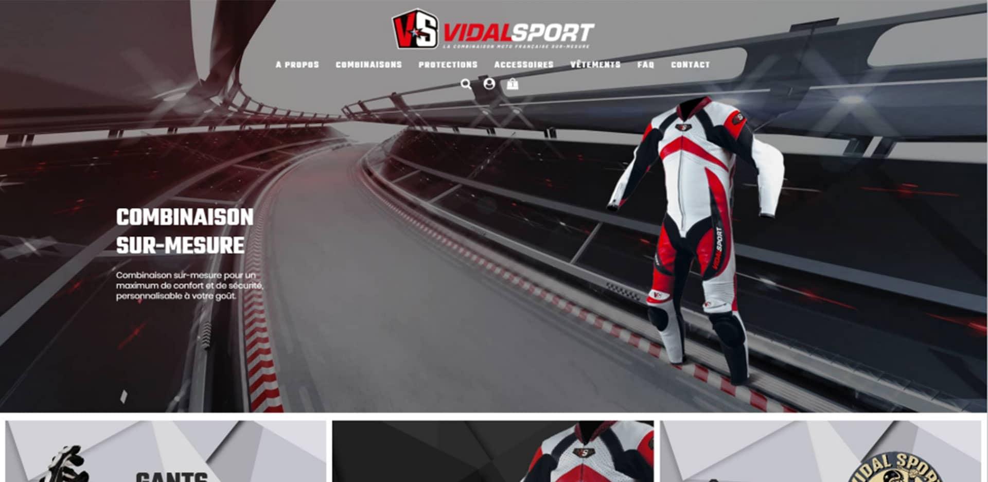 page d'accueil du site internet Vidal sport