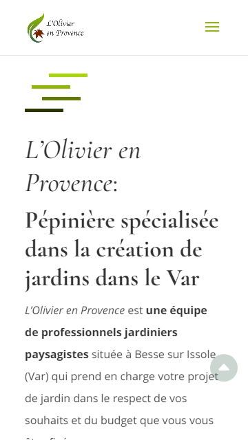 Aperçu mobile du site internet l'olivier en provence