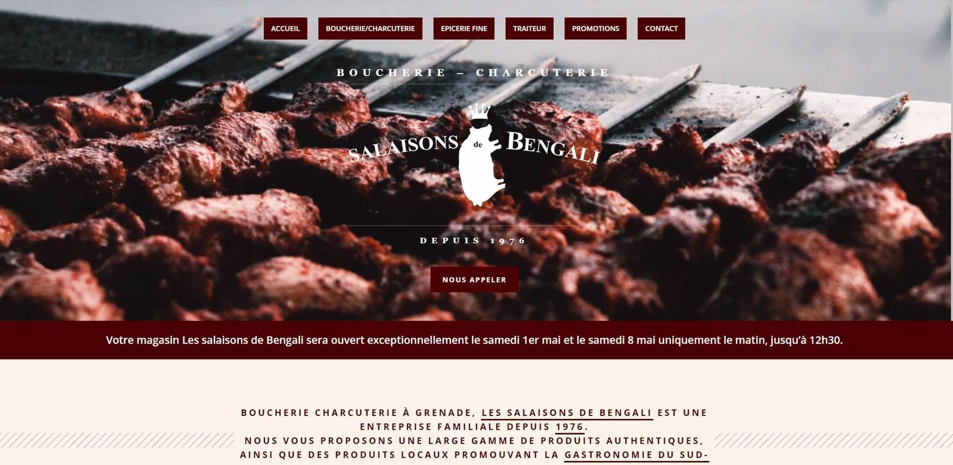 Page d'accueil du site internet les salaisons de bengali