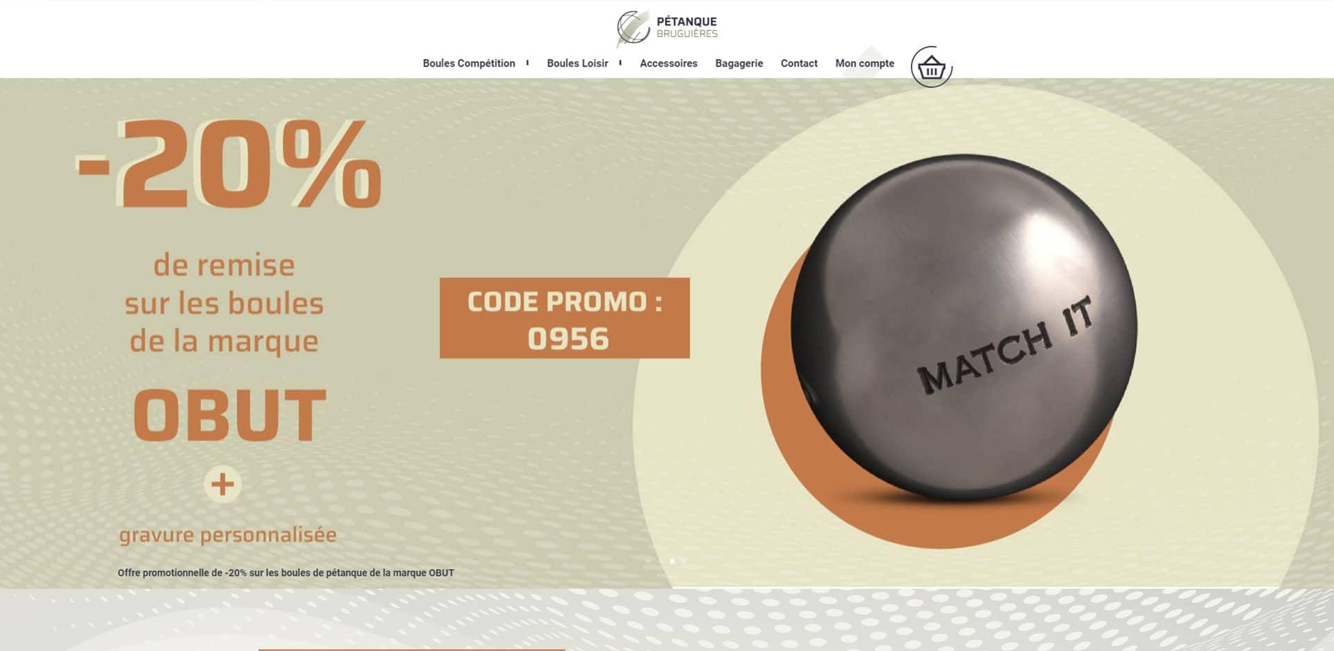 page d'accueil du site boutique pétanque bruguières