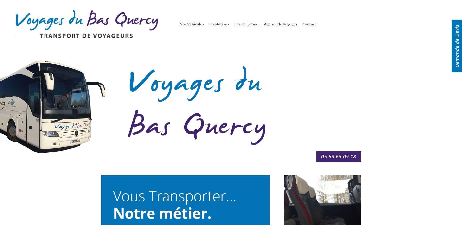 page d'accueil du site internet voyage du bas quercy