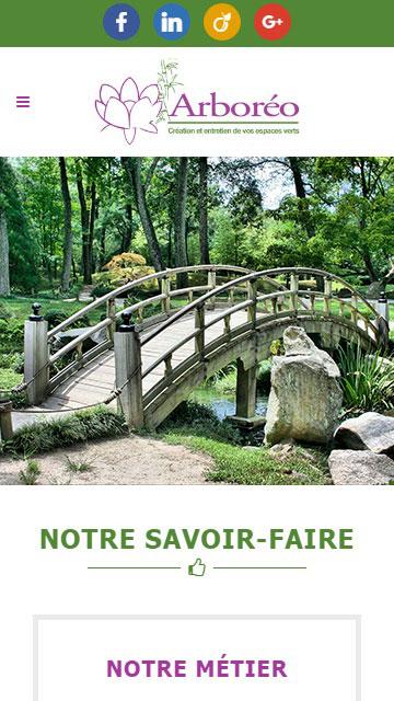 Apercu mobile du site web d'Arboreo