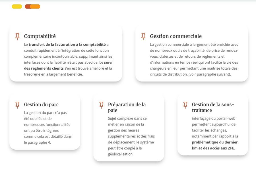 Intégration du contenu textuel du site web de transport