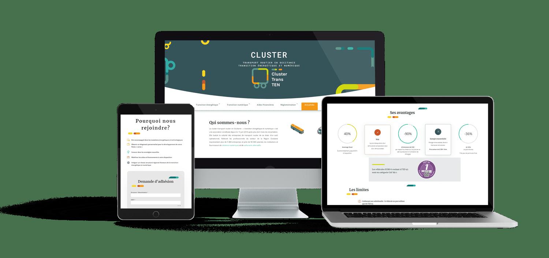 Aperçu du responsive du site web cluster transport