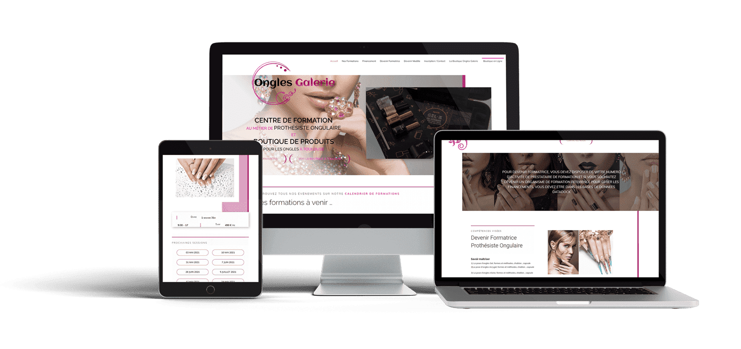 Responsive du site ongle galerie