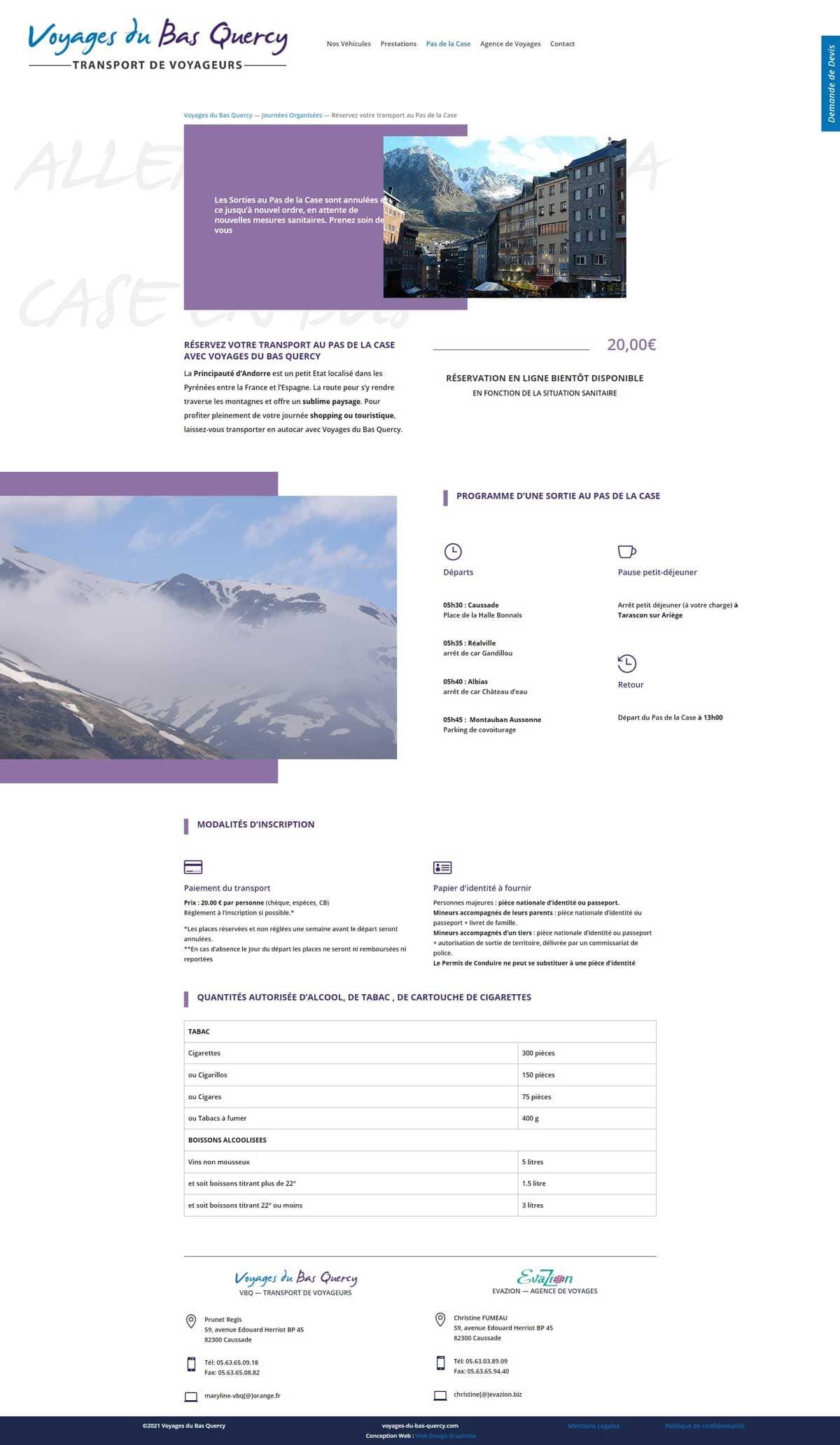 Site internet avec page de réservation de voyage