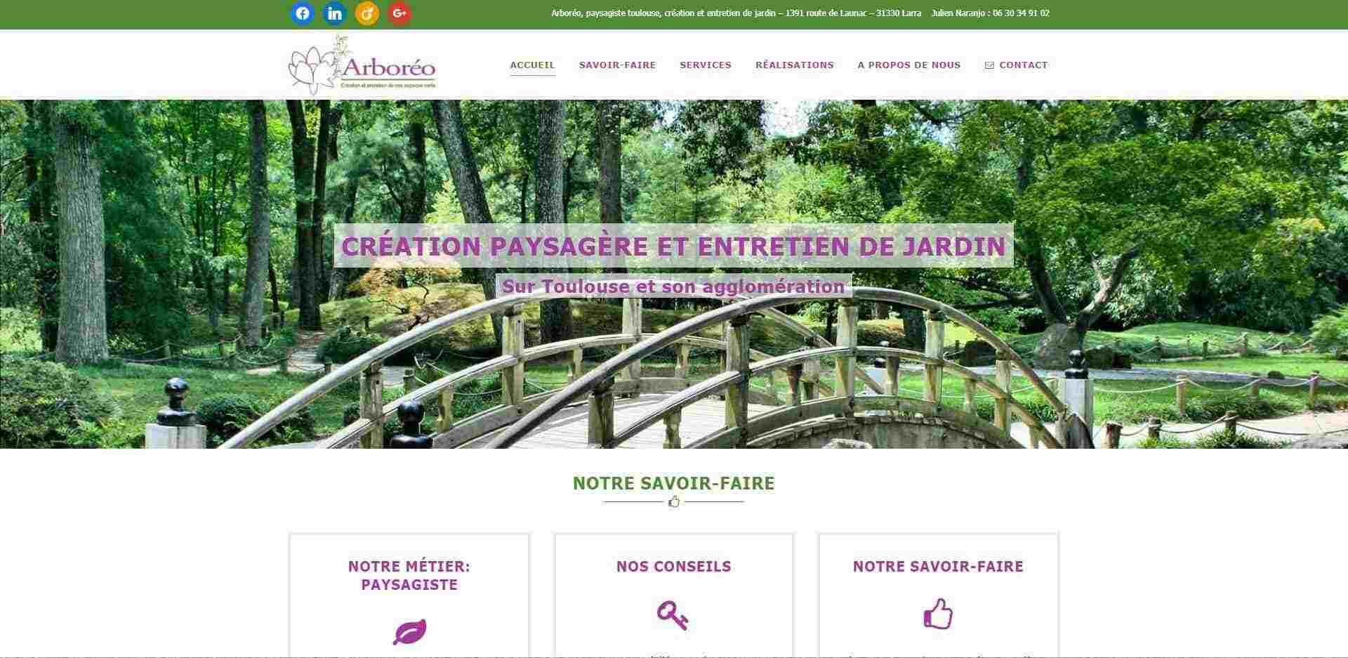 page d'accueil du site internet arboreo