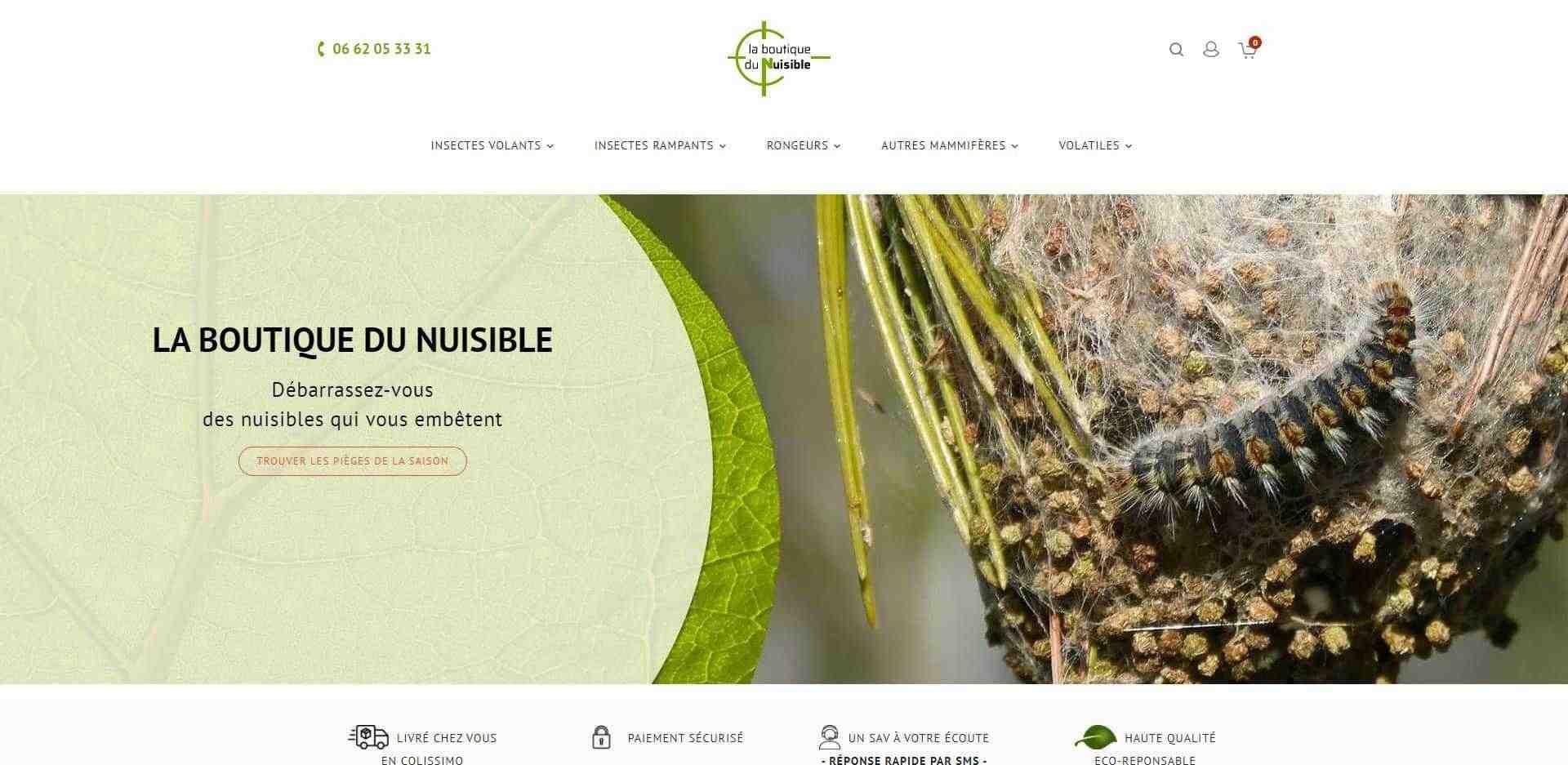 page d'acceuil dsu site de vente en ligne : la boutique du nuisible