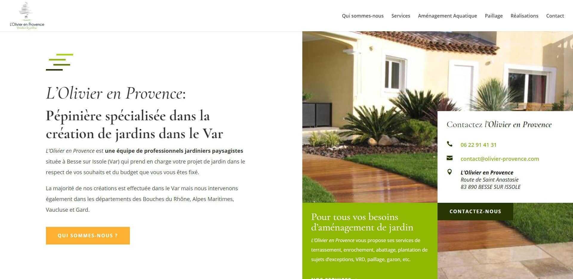 page d'accueil du site internet l'olivier en provence