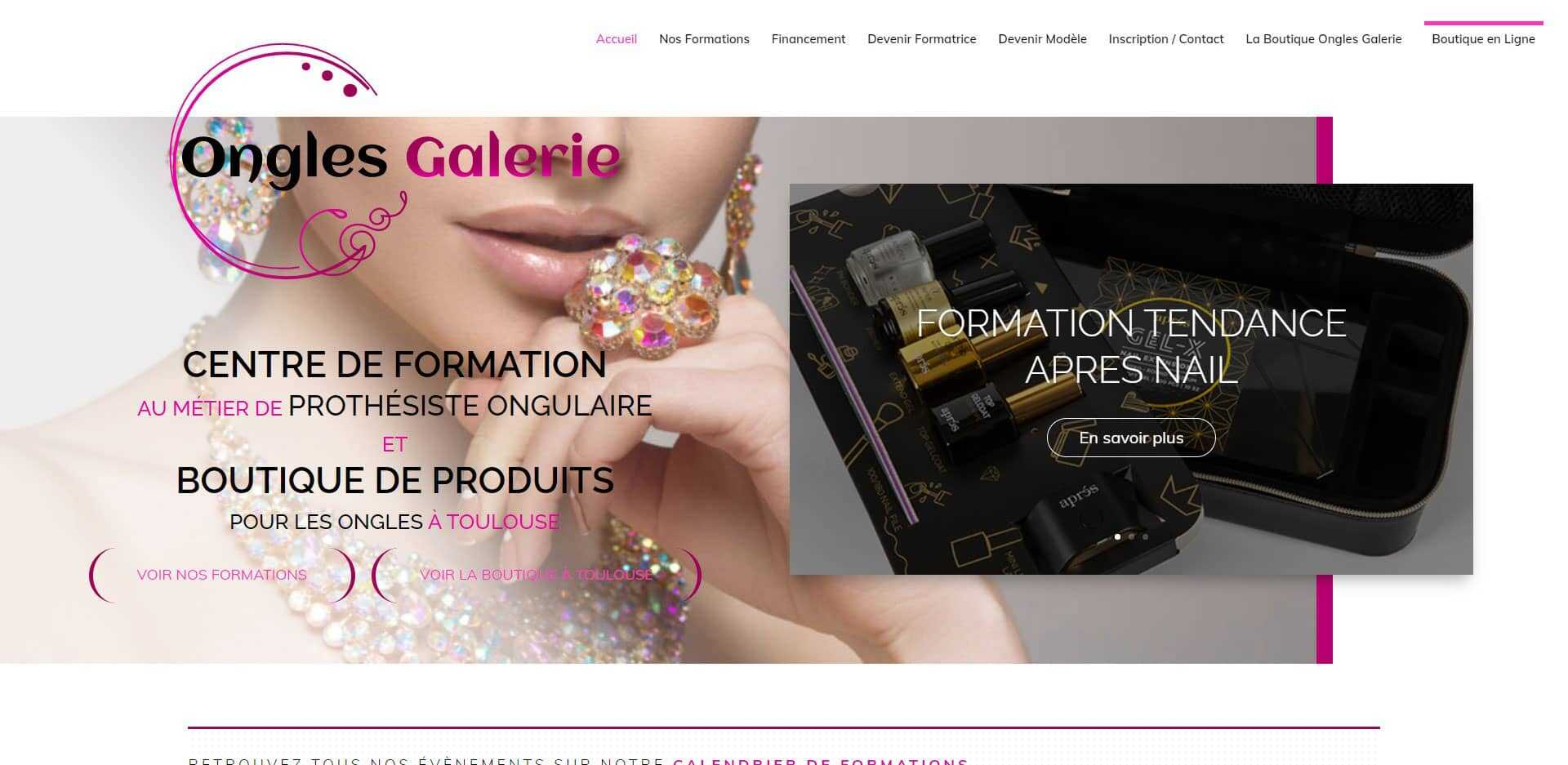 page d'acceuil du site internet ongles galerie
